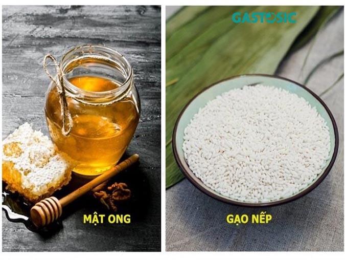 gạo nếp nấu cùng mật ong