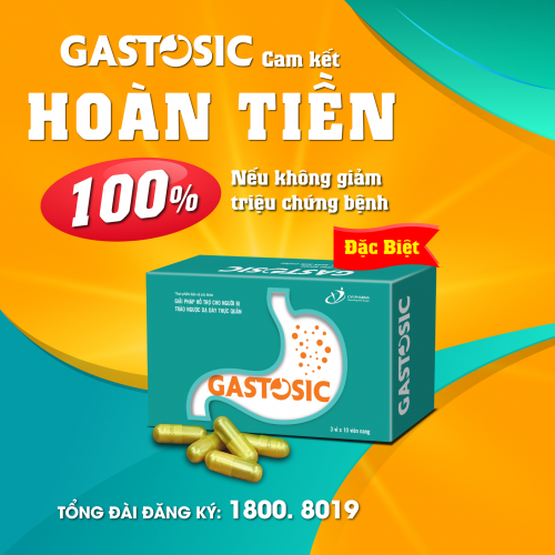 Gastosic Giải pháp chuyên biệt cho bệnh Trào ngược dạ dày thực quản: Cam kết hoàn lại 100% tiền nếu không giảm triệu chứng khi sử dụng sản phẩm